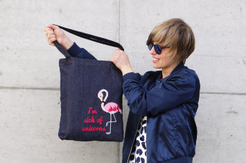 The bag for flamingo lovers - free Flamingo embroidery