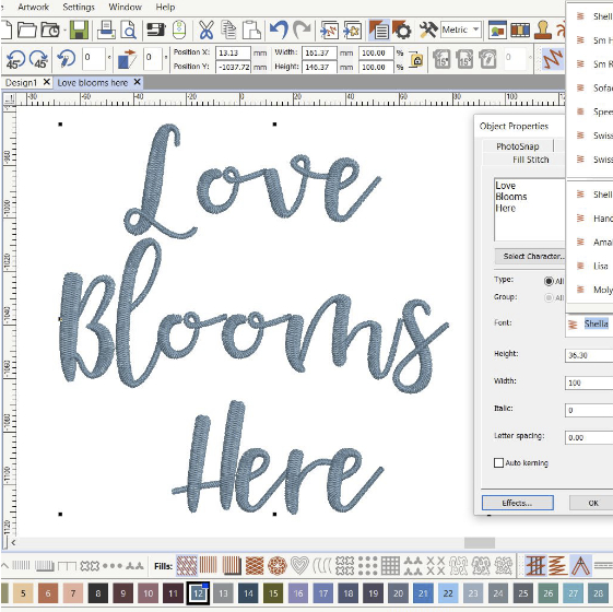 Choose from many built-in font designs