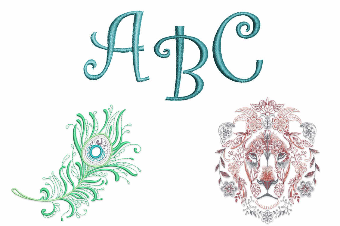 Bonus Embroidery Designs & Alphabets