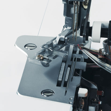 Swing-out presser feet for ease of handling